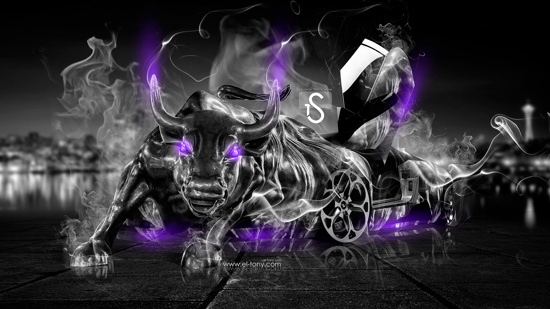 Violet Smoke Art Wallpapers: Lamborghini Murcielago Fantasy Fire Smoke Bull 2013