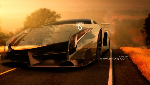 Lamborghini-Veneno-Crystal-Nature-Autumn-Car-2013-design-by-Tony-Kokhan-[www.el-tony.com]