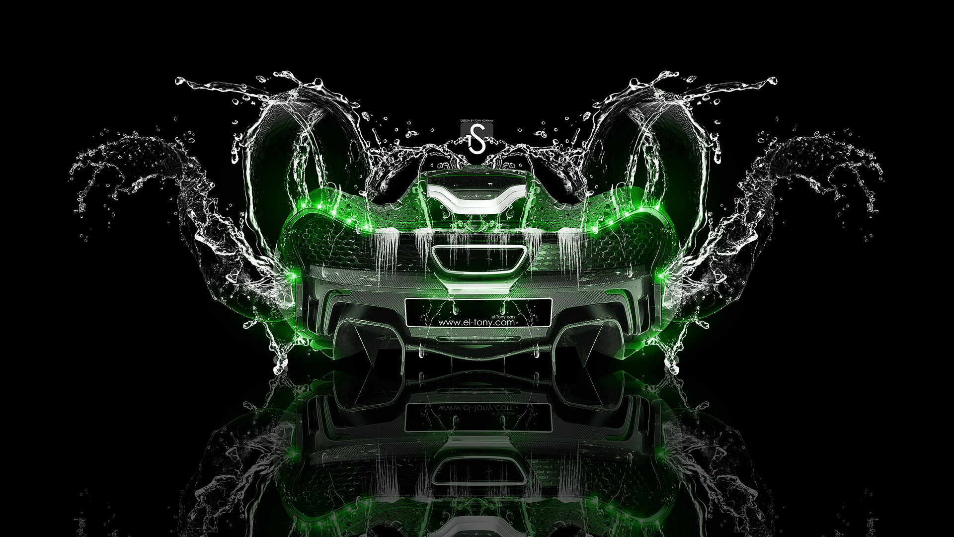 Mclaren P Back Water Car Green Neon Hd Wallpapers Design By Tony Kokhan   El Tony on mclaren p1 blue fire