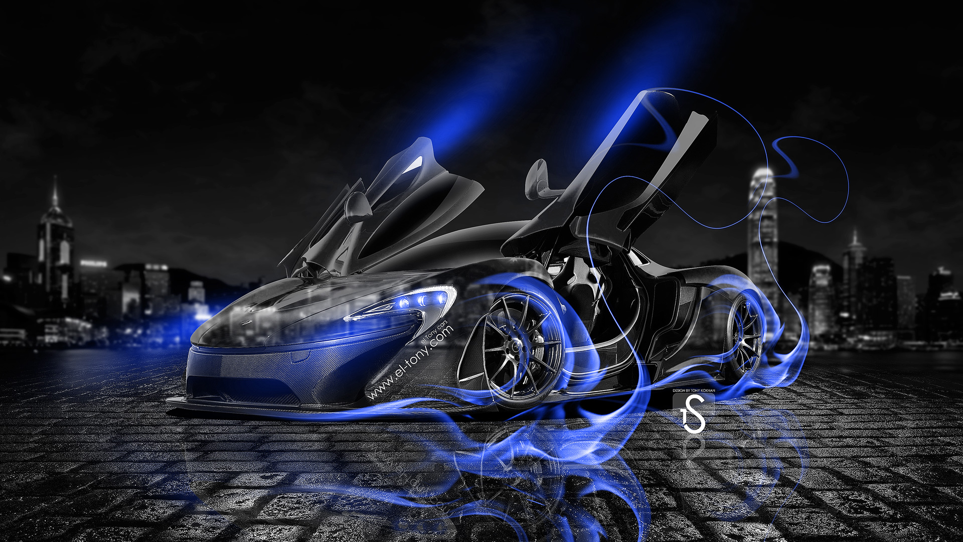 Beau ... McLaren P1 Open Doors Blue Fire Crystal Car  ...