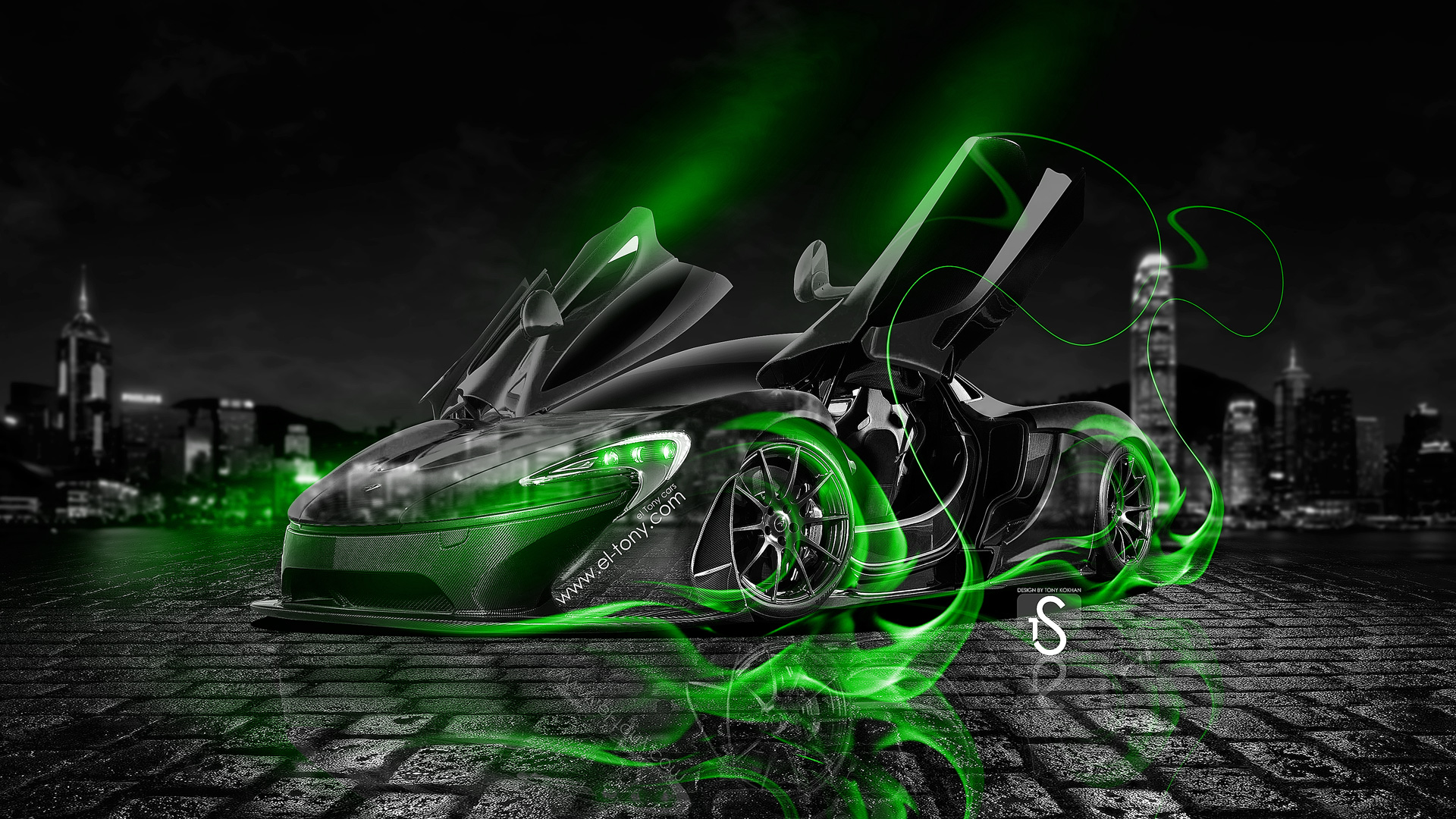 Superior ... McLaren P1 Open Doors Green Fire Crystal Car  ...