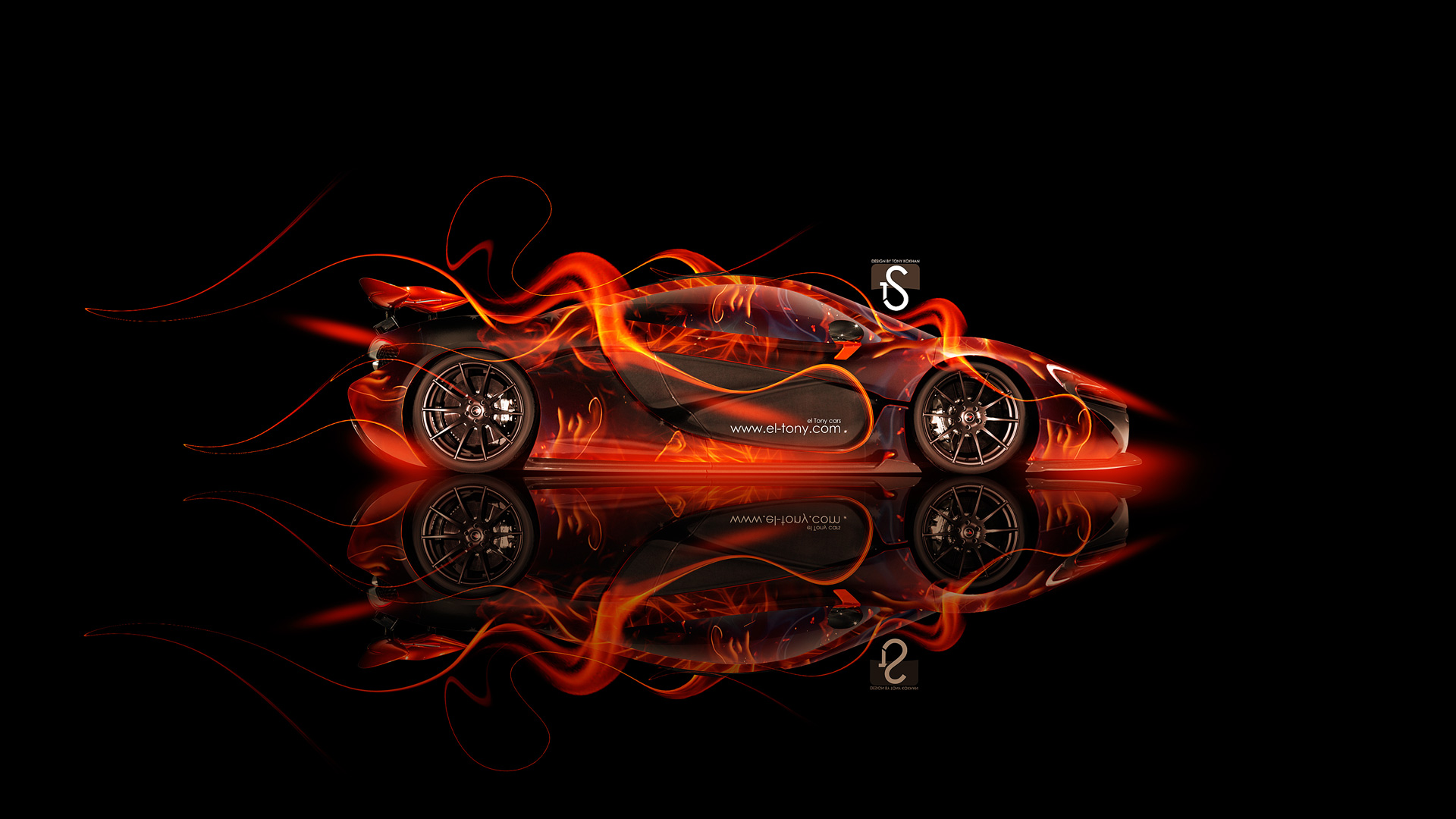Great McLaren P1 Side Fire Abstract Car 2013