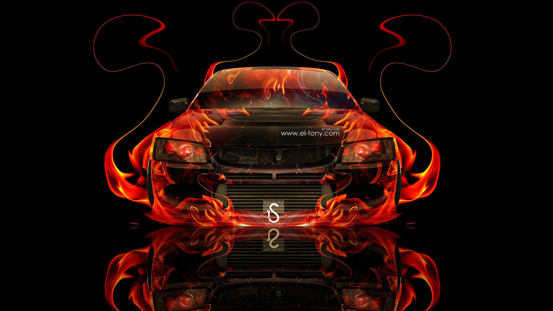Mitsubishi Lancer Evolution 8 JDM Fire Abstract Car 2013 .