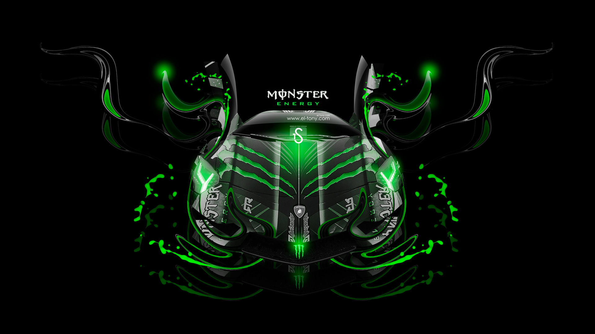 ... Monster Energy Lamborghini Aventador Front Fantasy Plastic Car 2013