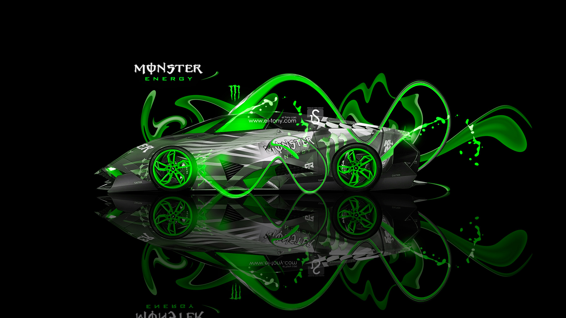 Monster Energy Lamborghini Egoista Fantasy Green Neon Plastic
