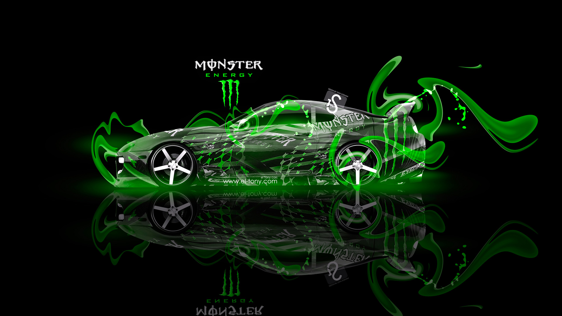 Monster Energy Toyota Supra Fantasy Green Plastic 2013