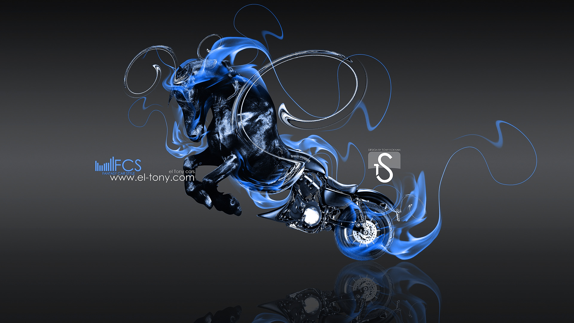 Blue Fire Horse Wallpaper