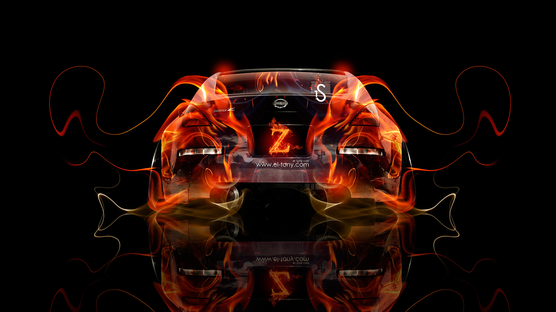 Awesome Nissan 350Z JDM Tuning Fire Abstract Car 2013