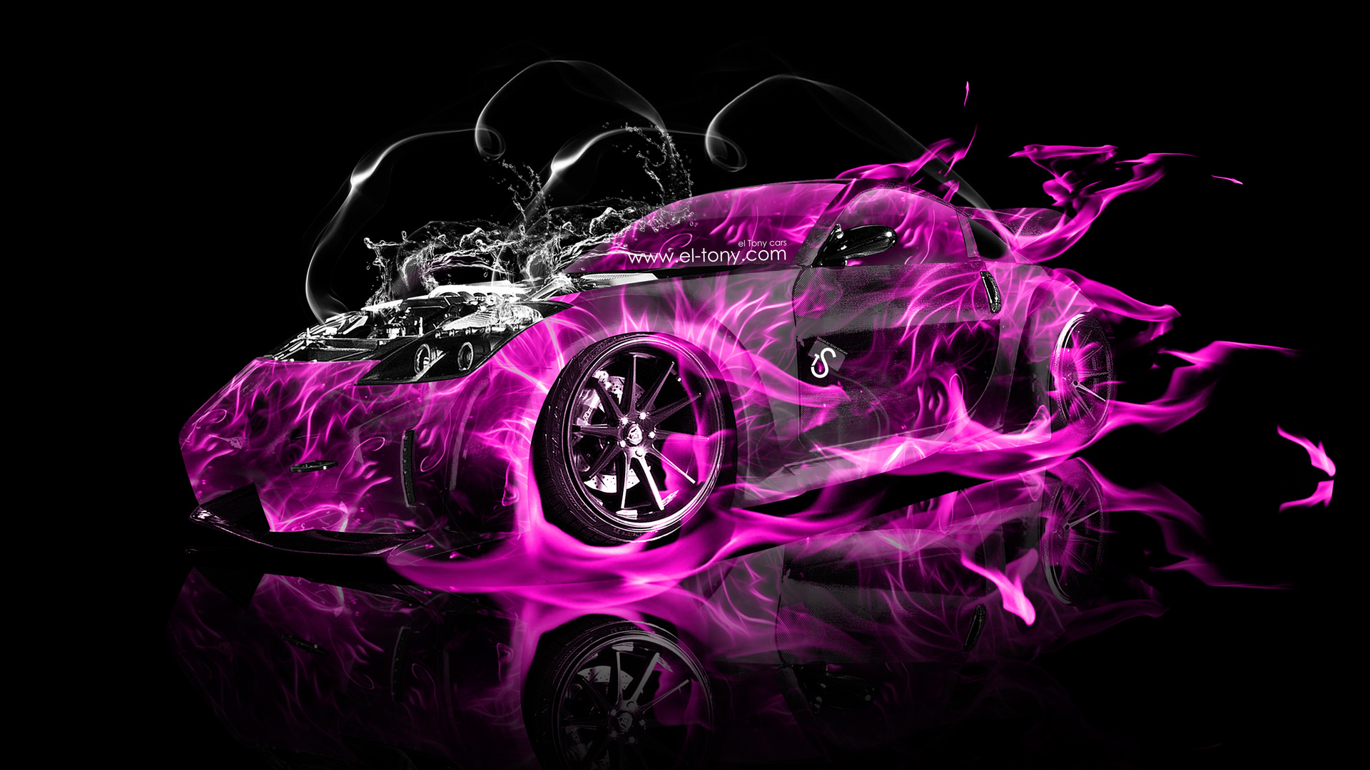 Delightful Nissan 350Z VeilSide Water Engine Pink Fire Abstract