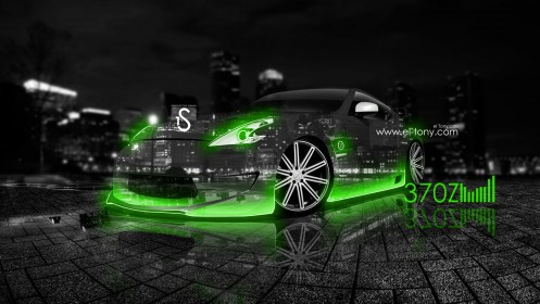 Nissan-370Z-Green-Neon-Crystal-City-Car-2013-HD-Wallpapers-design-by-Tony-Kokhan-[www.el-tony.com]