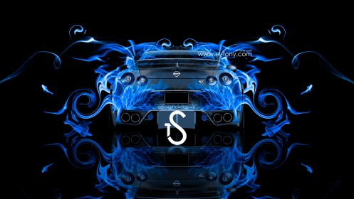 Nissan-GTR-R35-Blue-Fire-Car-2013-Back-View-HD-Wallpapers-design-by-Tony-Kokhan-[www.el-tony.com]