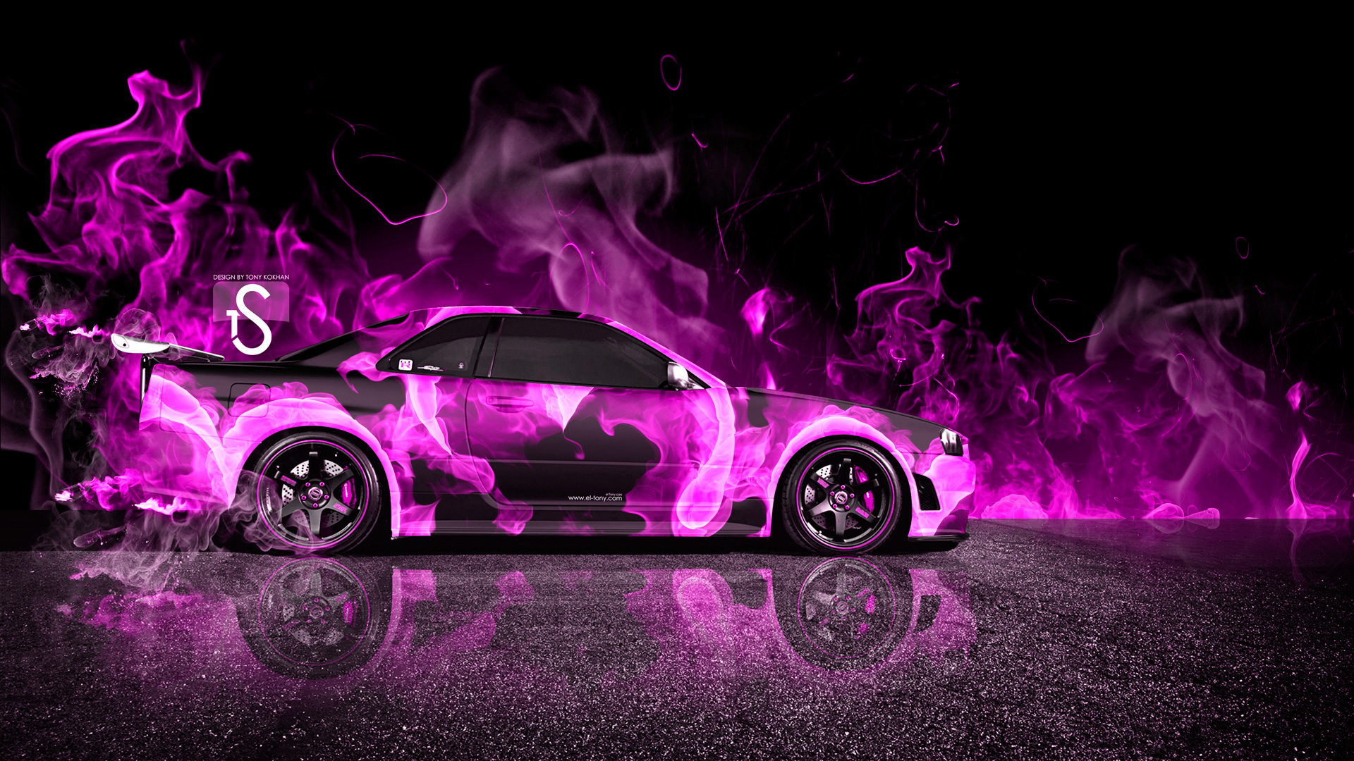 ... Nissan Skyline GTR R34 Pink Fire Car 2013  ...