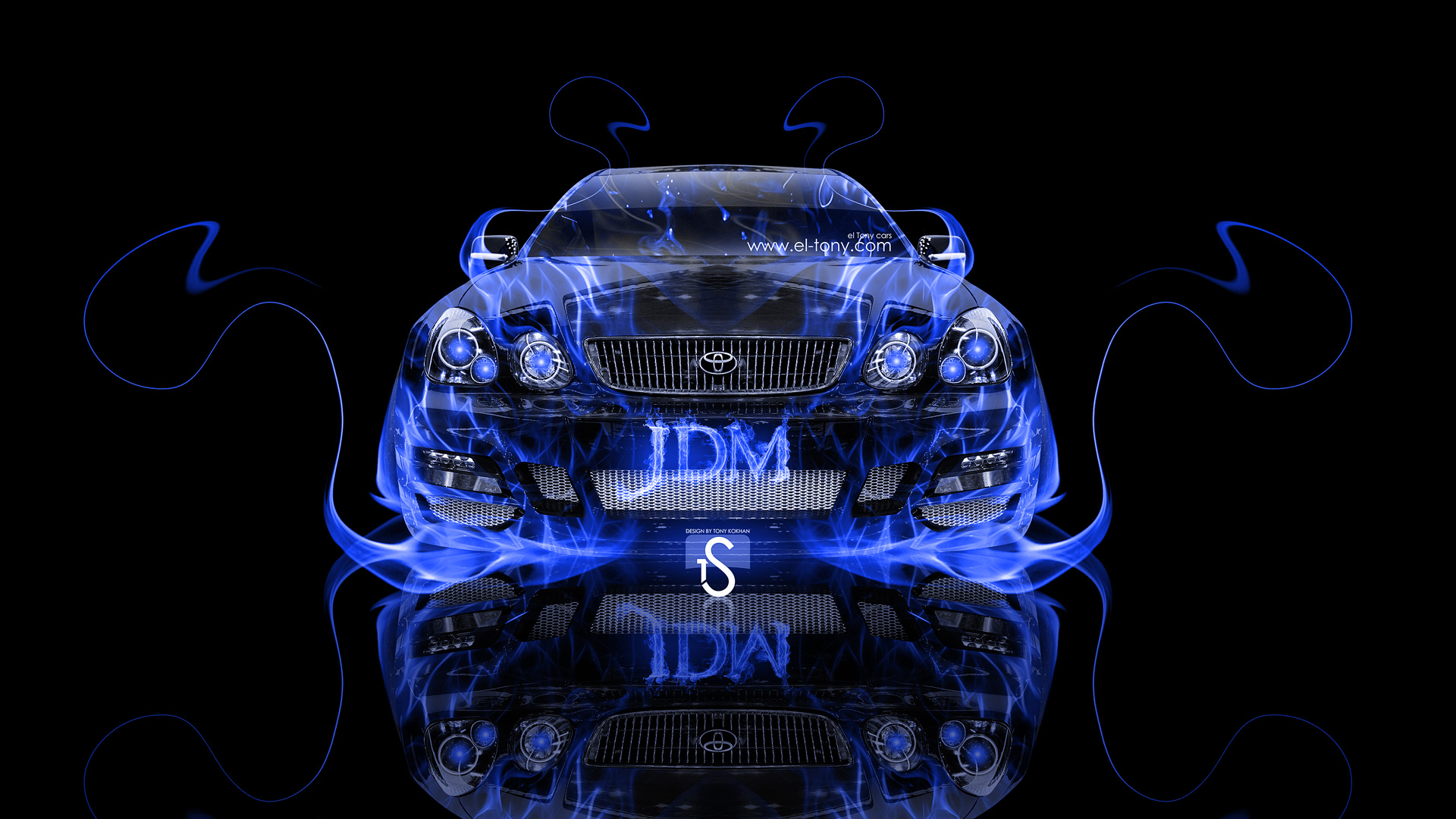 Merveilleux Toyota Aristo JDM Front Blue Fire Abstract Car