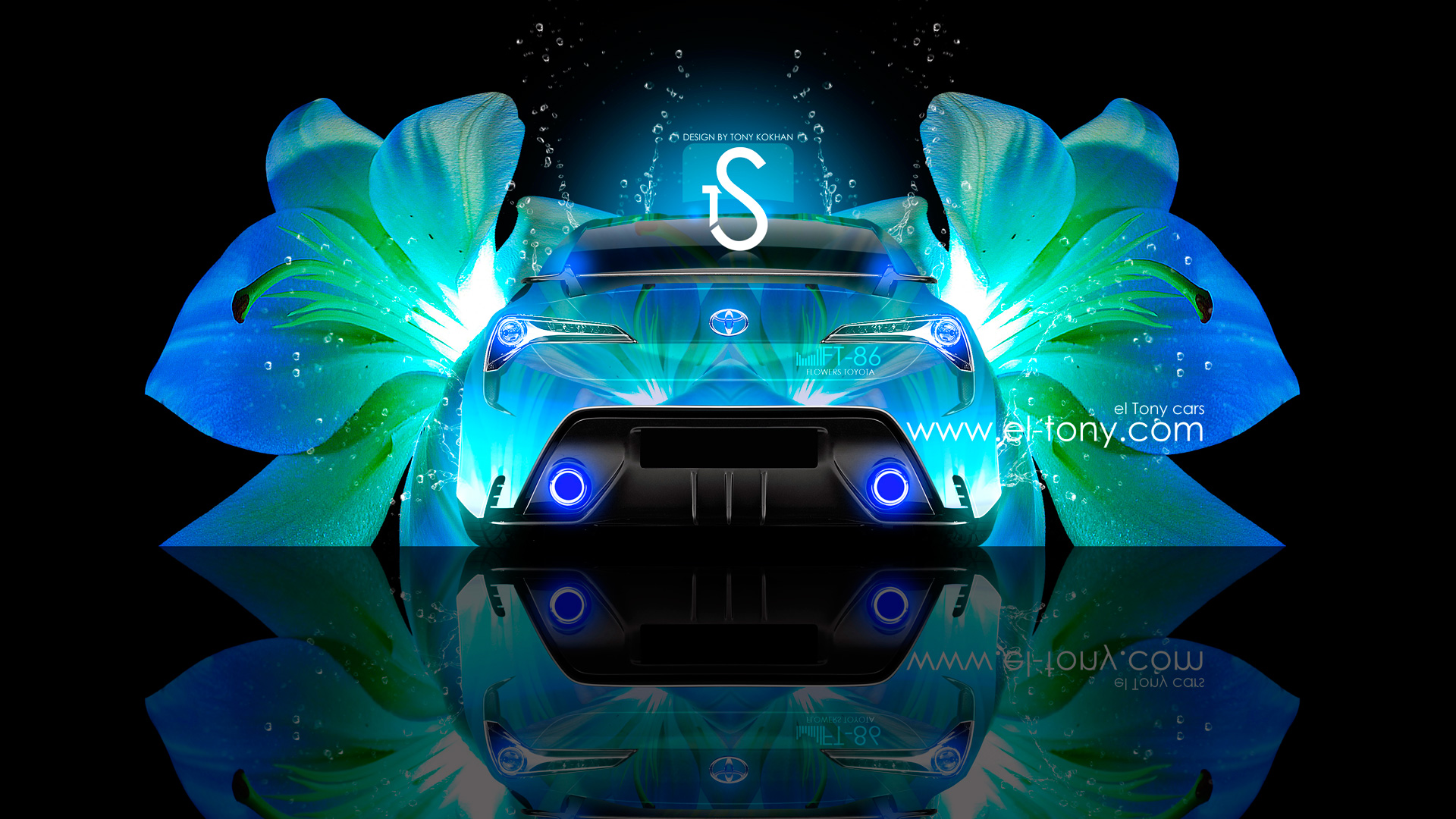 Toyota-FT-86-Blue-Neon-Flower-Water-Fantasy-2013-HD-Wallpapers-by-Tony-Kokhan-[www.el-tony.com]
