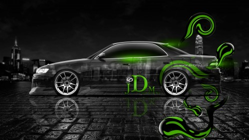 Toyota-Mark-2-JZX90-JDM-Effects-Green-Neon-Side-View-2013-by-Tony-Kokhan-[www.el-tony.com]