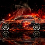 Toyota Mark 2 JZX90 JDM Side View Fire Abstract Car 2013
