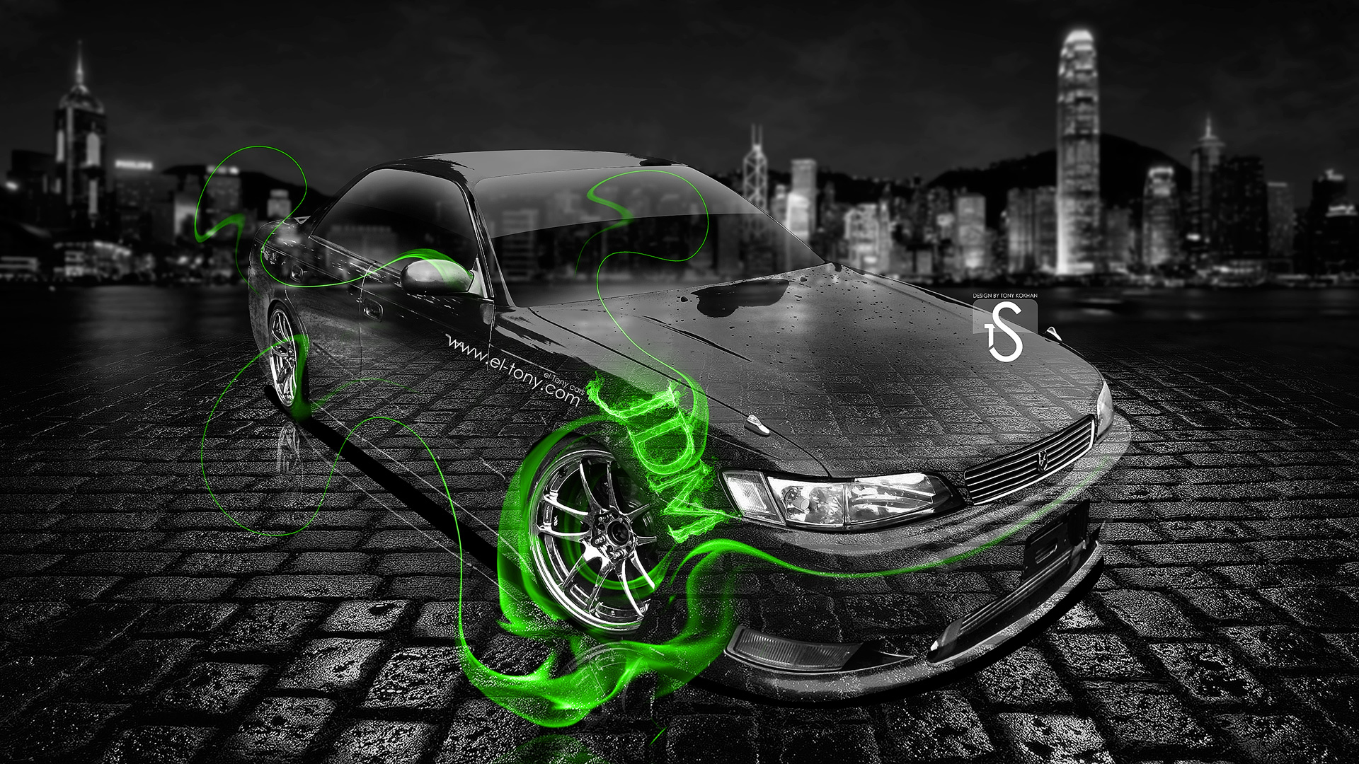 ... Toyota Mark 2 JZX90 JDM Style Green Fire  ...