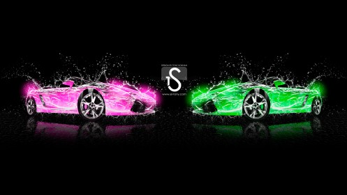 Two-Car-Lamborghini-Gallardo-Water-Green-Pink-2013-HD-Wallpapers-design-by-Tony-Kokhan-[www.el-tony.com]