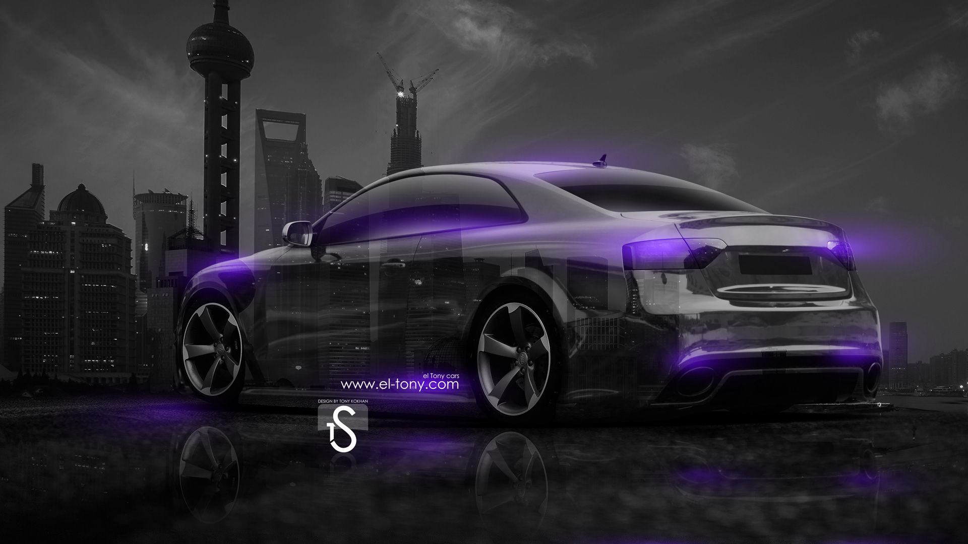 Wonderful Audi RS5 Crystal City Car 2014 Violet Neon