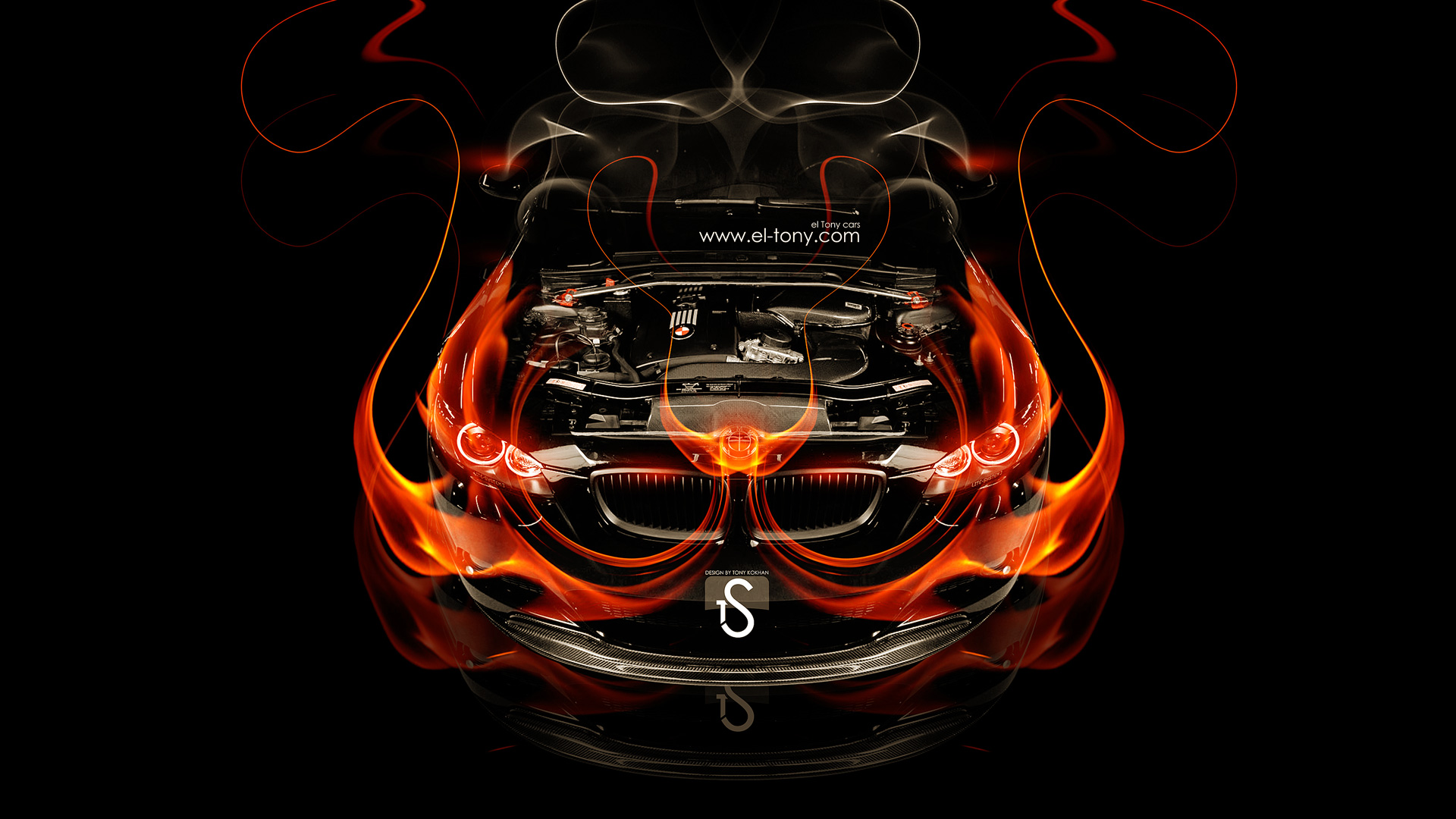 Elegant BMW M3 Engine Fire Car 2014 HD Wallpapers