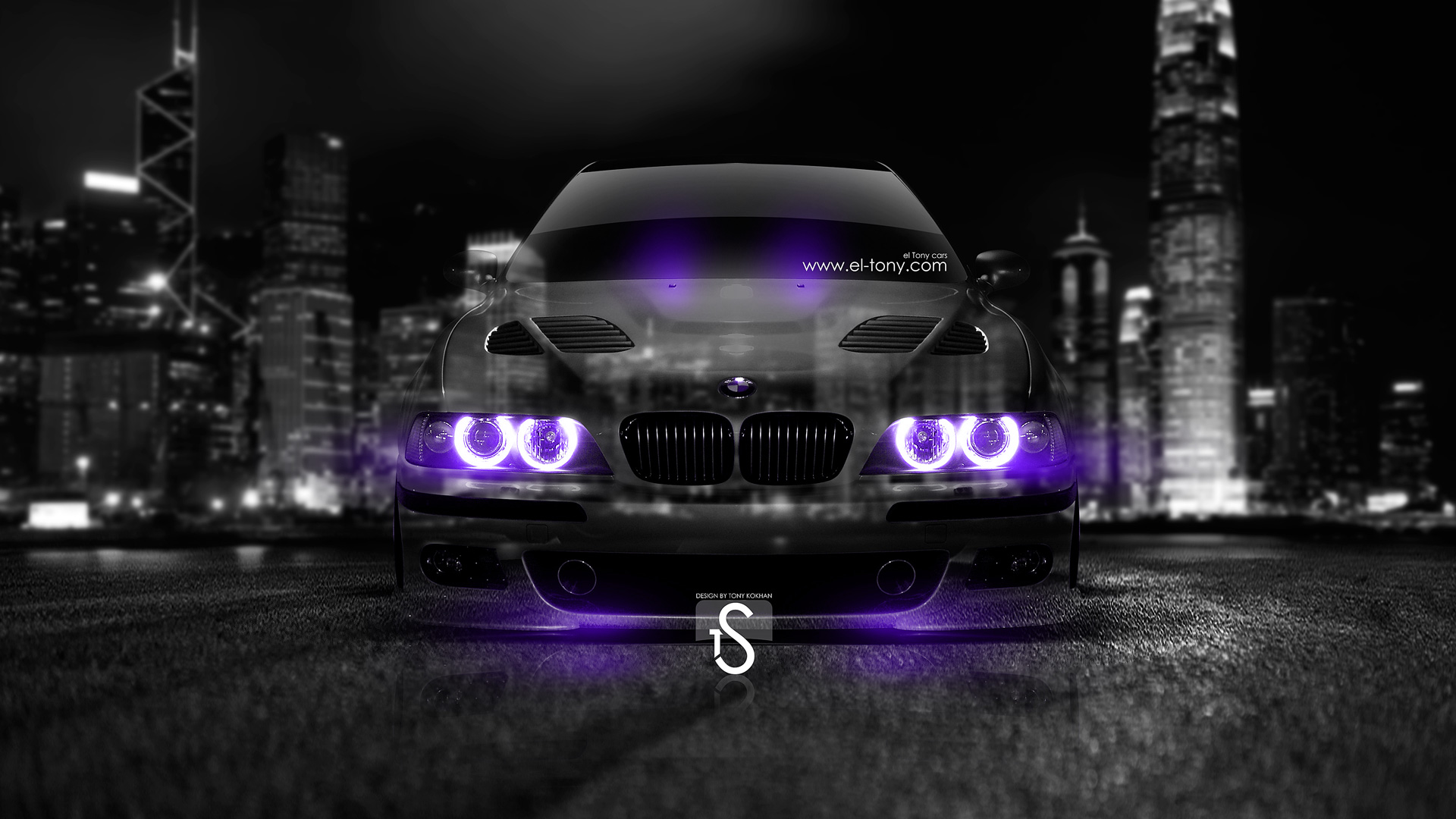 BMW-M5-E39-Crystal-City-Car-2014-Violet-Neon-HD-Wallpapers-design-by-Tony-Kokhan-[www.el-tony.com]