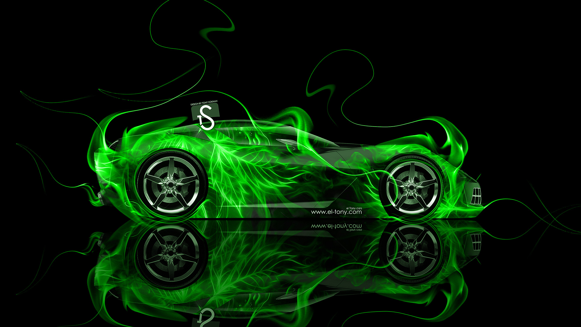 Chevrolet Corvette Stingray Fire Abstract Car 2014 El Tony