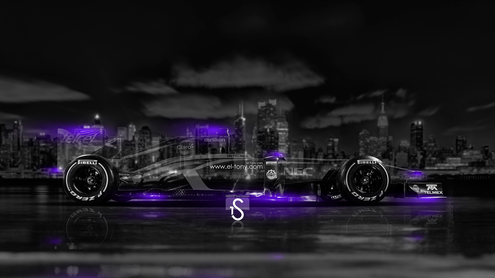 Captivating F1 Crystal City Car 2014 Violet Neon HD