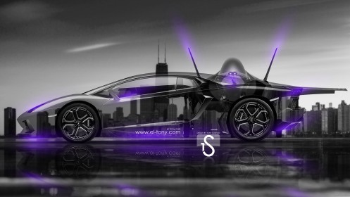 F35-vs-Lamborghini-Aventador-Crystal-City-Car-2014-Violet-Neon-design-by-Tony-Kokhan-[www.el-tony.com]