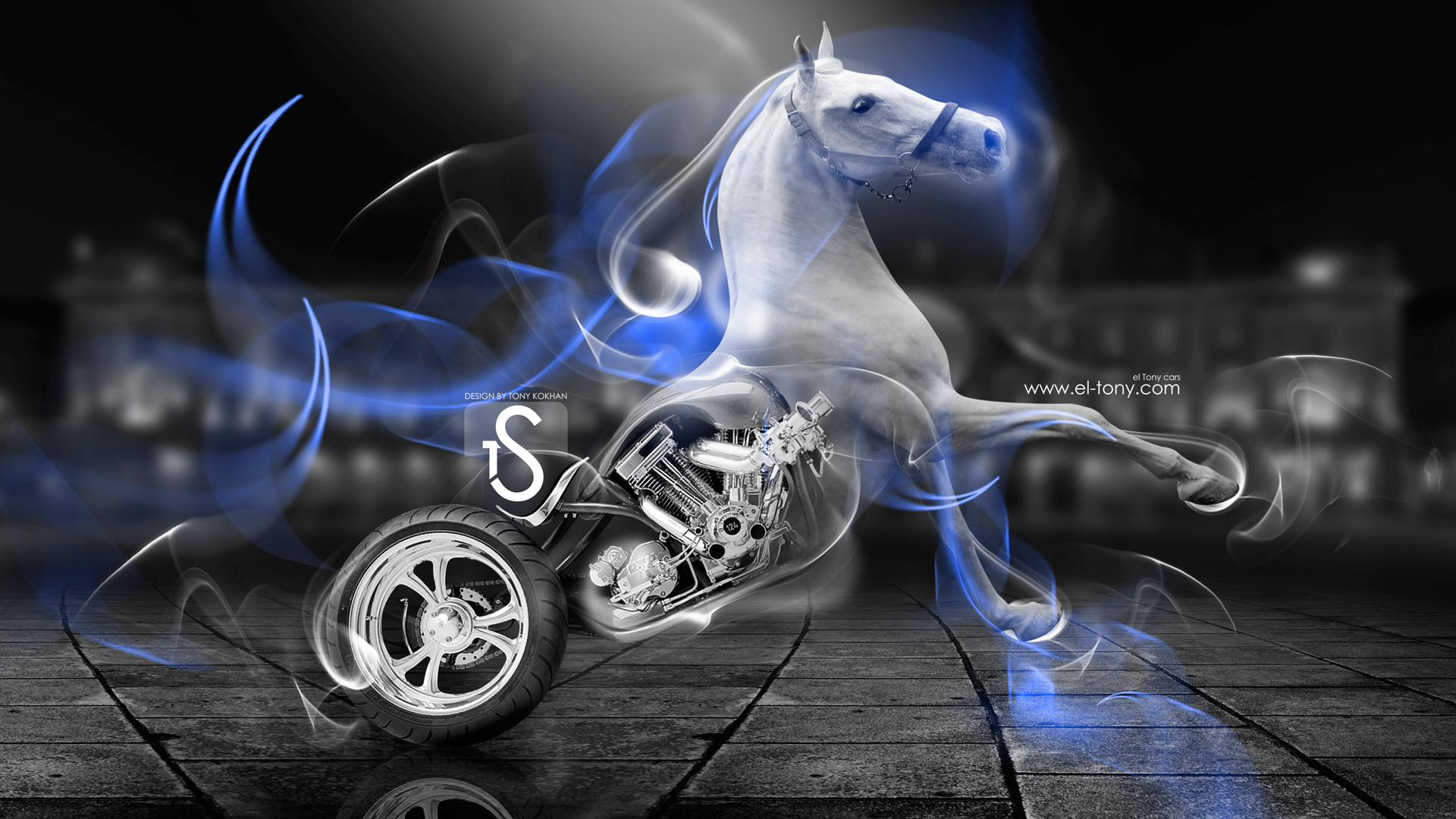 Fantasy White Horse Moto Blue Smoke 2014 HD  ...