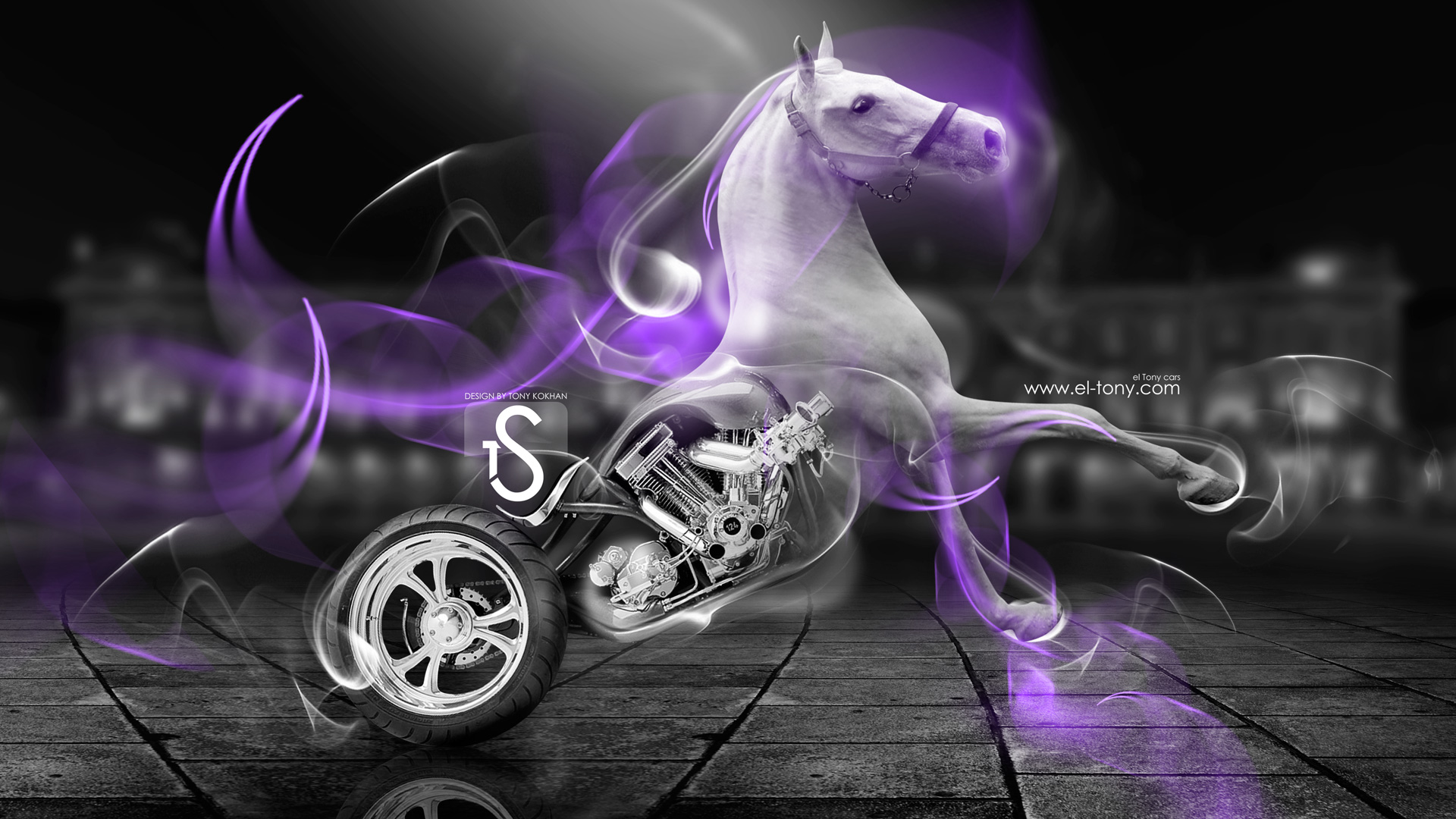 Bon ... Fantasy White Horse Moto Violet Smoke 2014 HD . Fantasy Moto Leopard  Relax City Bike 2014