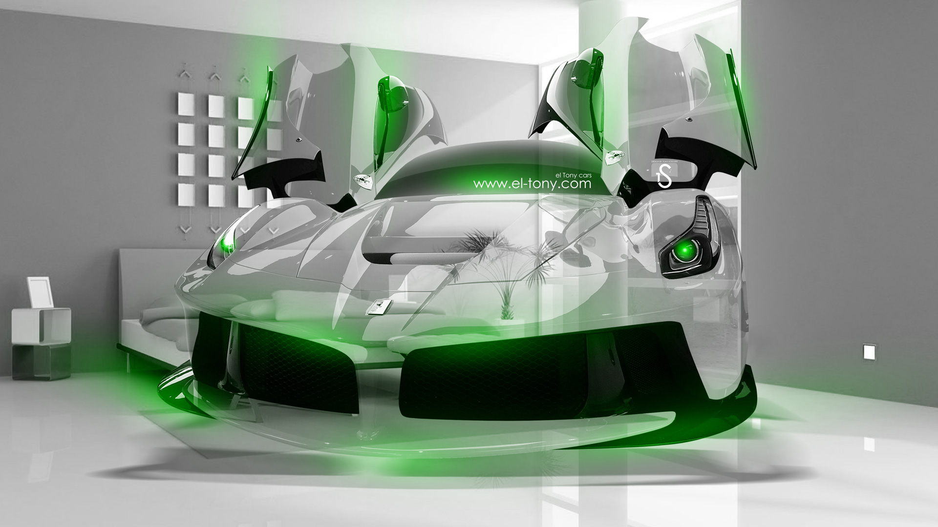... Ferrari Laferrari Crystal Home Fly Car 2014 Green  ...