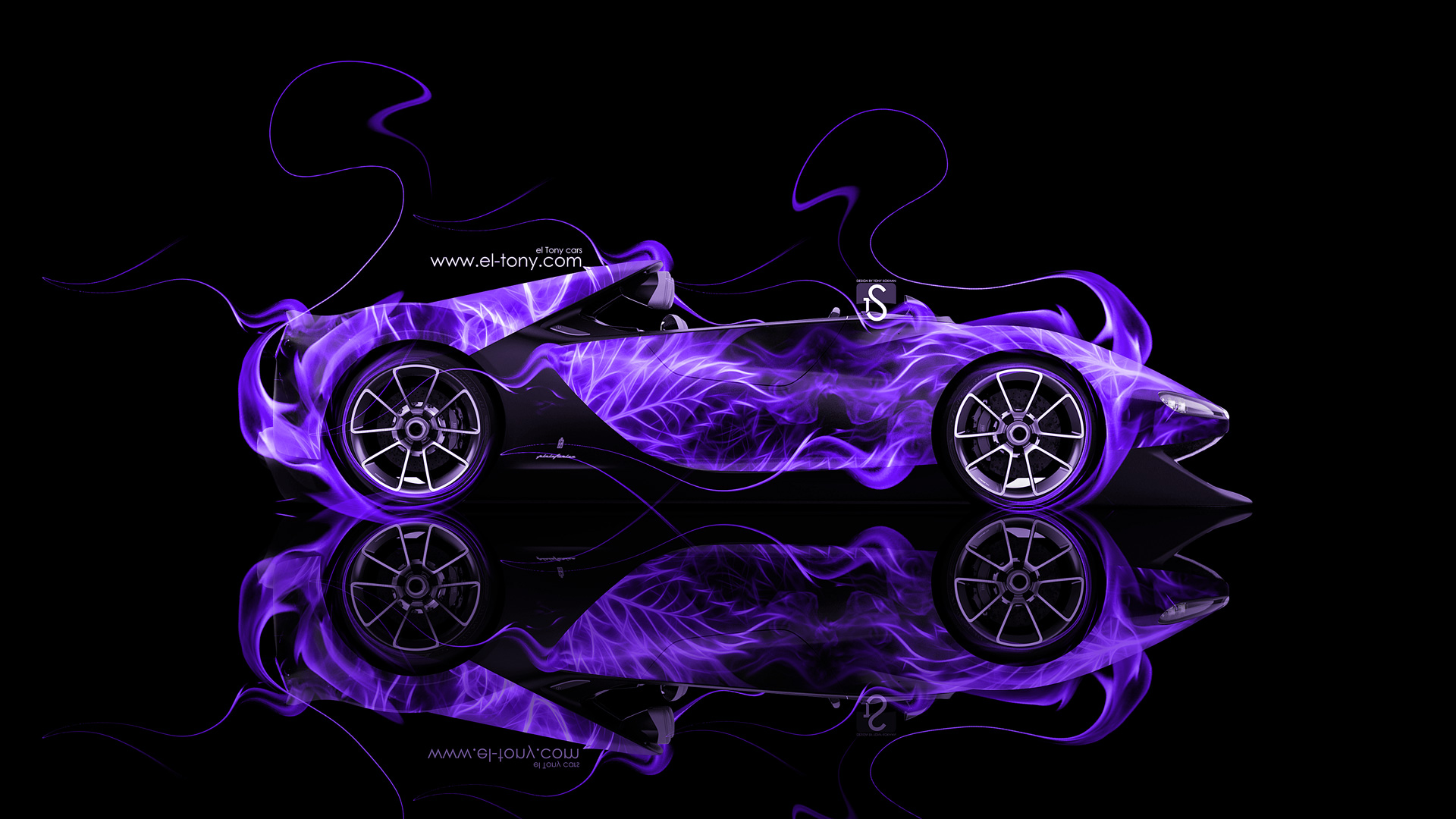 Captivating Ferrari Sergio Side Violet Fire Abstract Car 2014