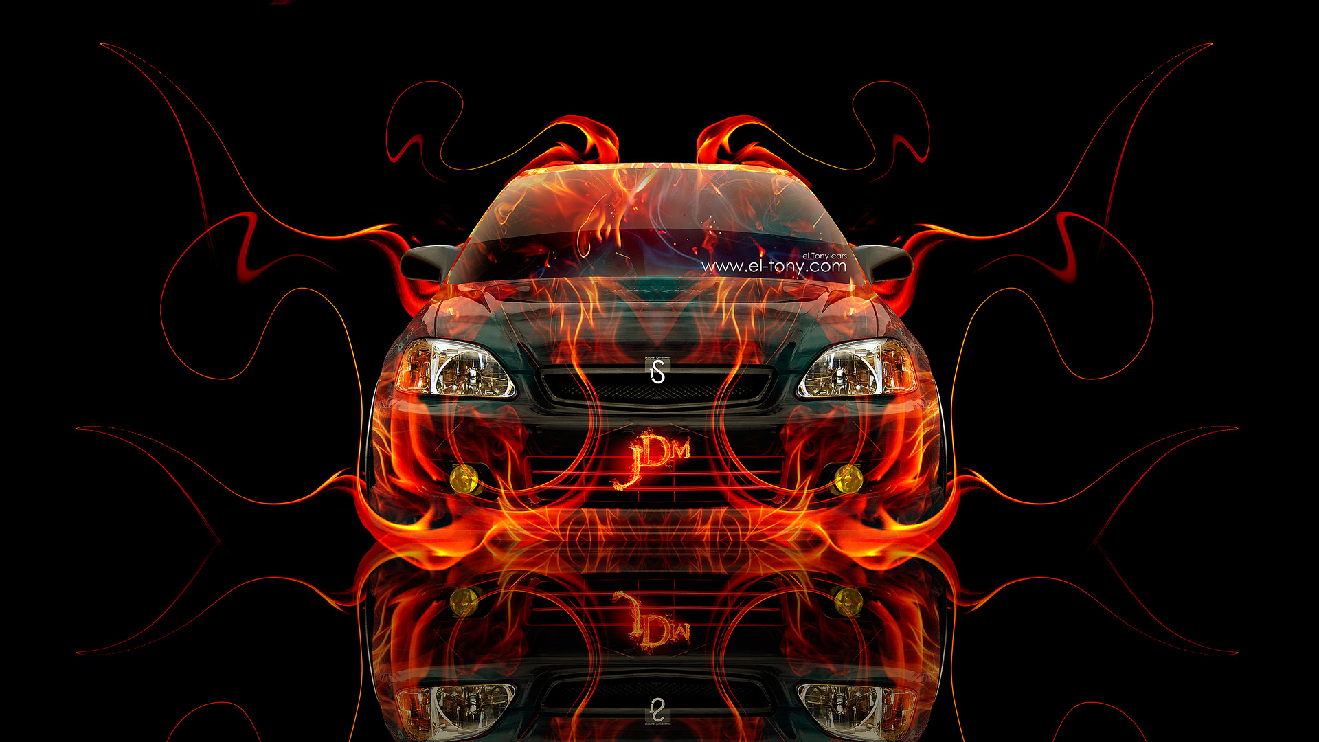 Merveilleux Honda Civic JDM Fire Abstract Car 2014 HD