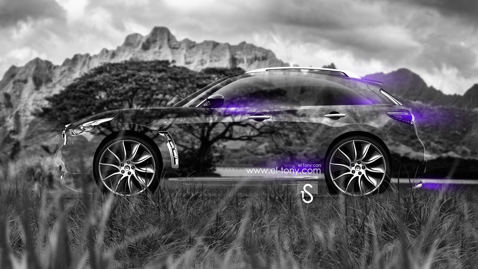 Perfect Infiniti FX Crystal Nature Car 2014 Violet Neon