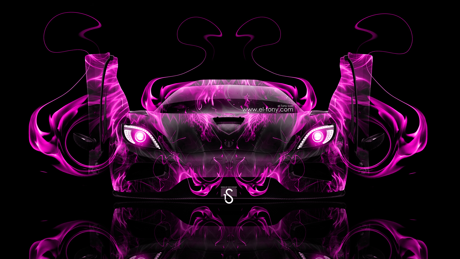 Attractive Koenigsegg Agera Open Doors Pink Fire Abstract Car