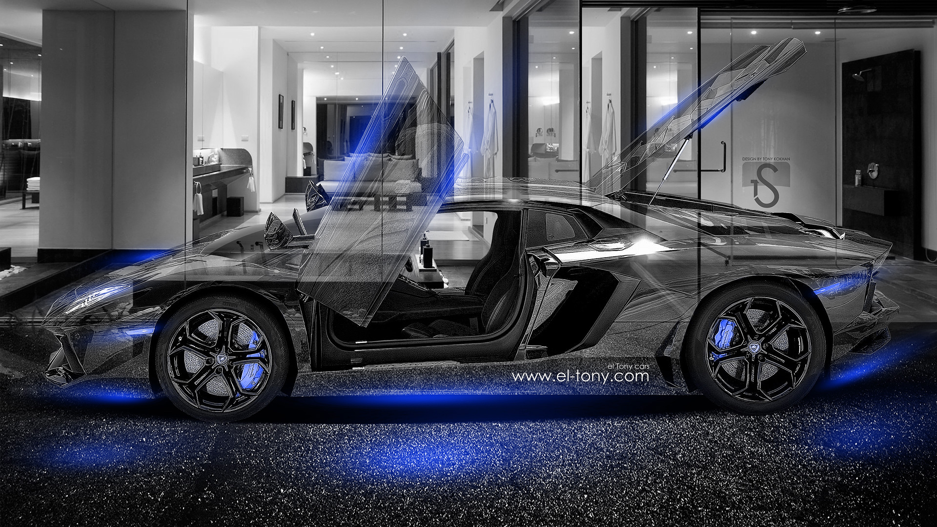 lamborghini aventador crystal home car 2014 blue neon