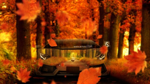 Lamborghini-Aventador-Crystal-Nature-Autumn-Car-2014-HD-Wallpapers-design-by-Tony-Kokhan-[www.el-tony.com]
