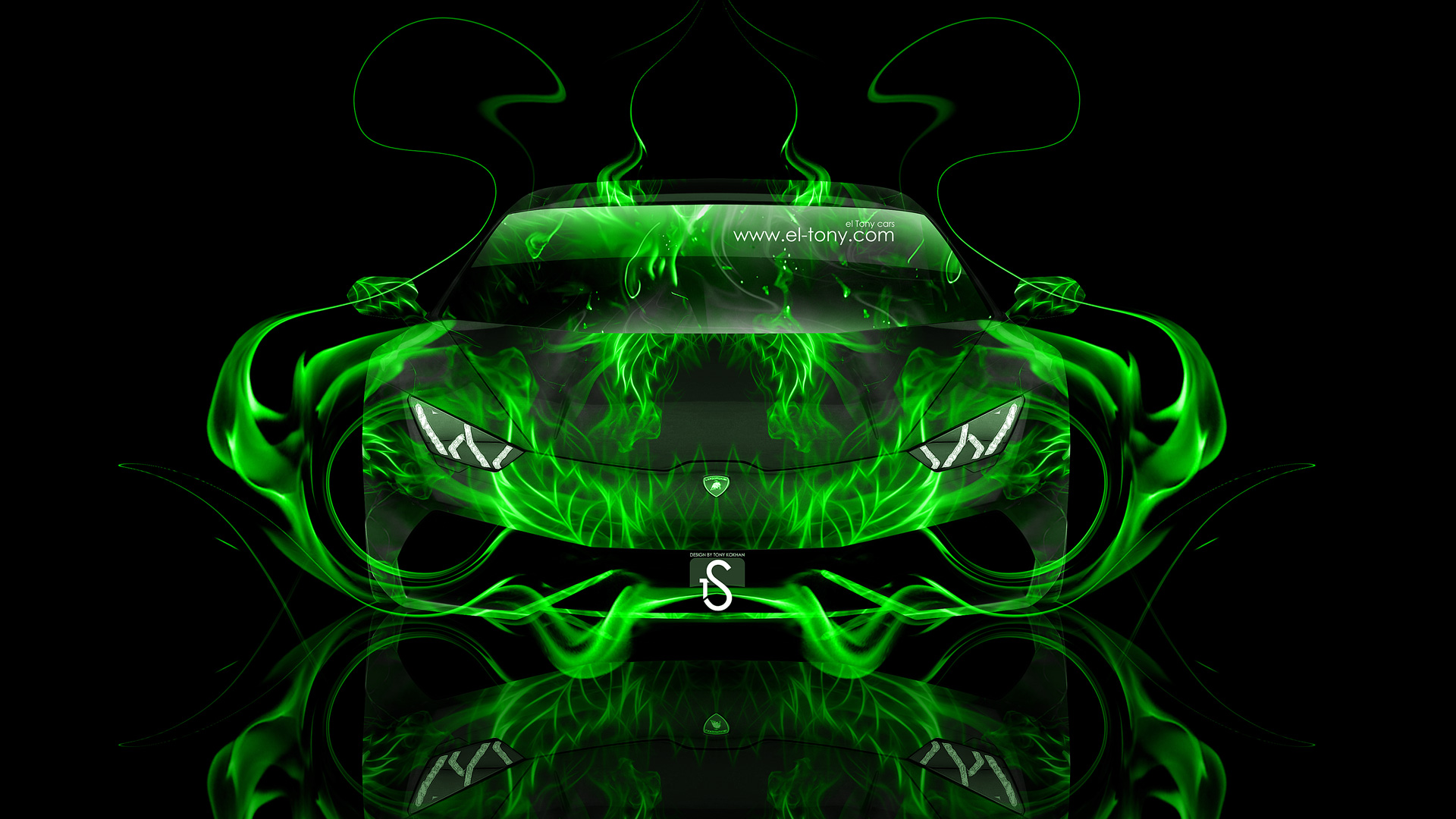 Lamborghini Huracan Green Fire Abstract Car 2014 HD  ...