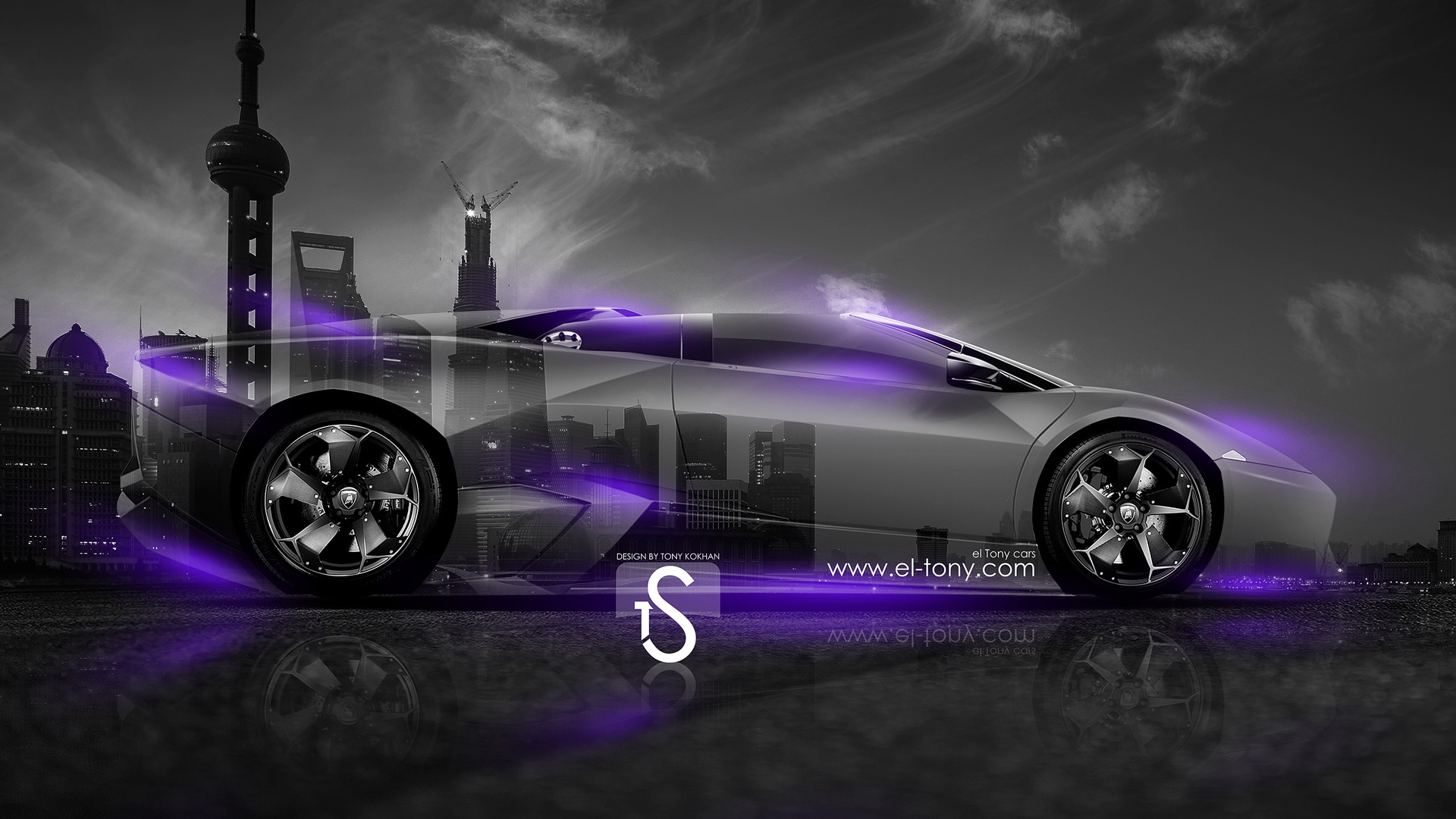 Superb Lamborghini Reventon Roadster Crystal City Car 2014 Violet