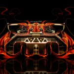 Lamborghini Veneno Back Fire Abstract Car 2014