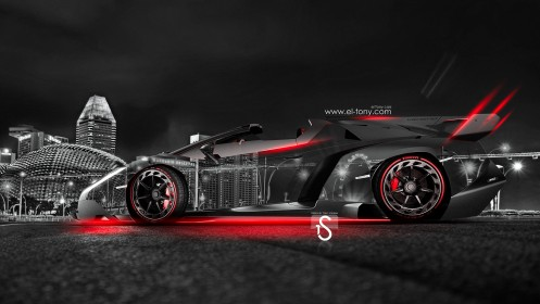 Lamborghini-Veneno-Roadster-Crystal-City-Car-2014-Red-Neon-design-by-Tony-Kokhan-[www.el-tony.com]