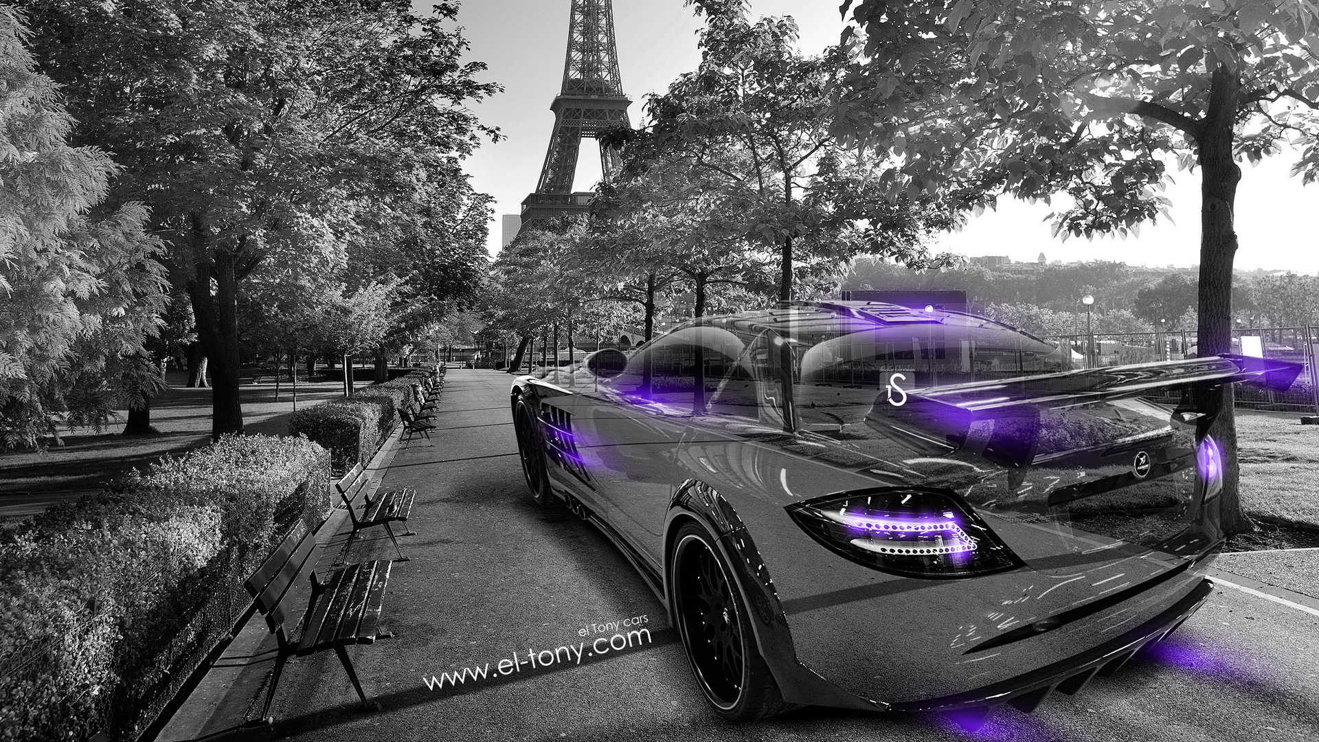 Mercedes-Benz-SLR-McLaren-Crystal-Day-Paris-Car-2014-Violet-Neon-design-by-Tony-Kokhan-[www.el-tony.com]