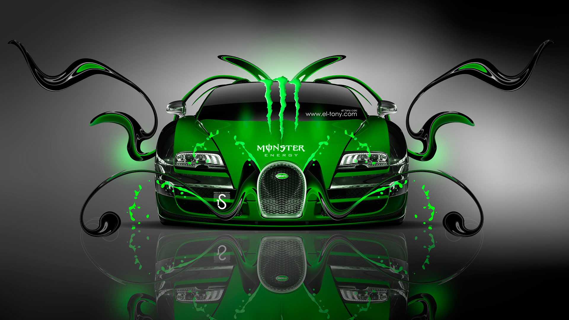 Monster Energy Bugatti Veyron Front Green Plastic Car Design By Tony Kokhan   El Tony on mclaren p1 blue fire