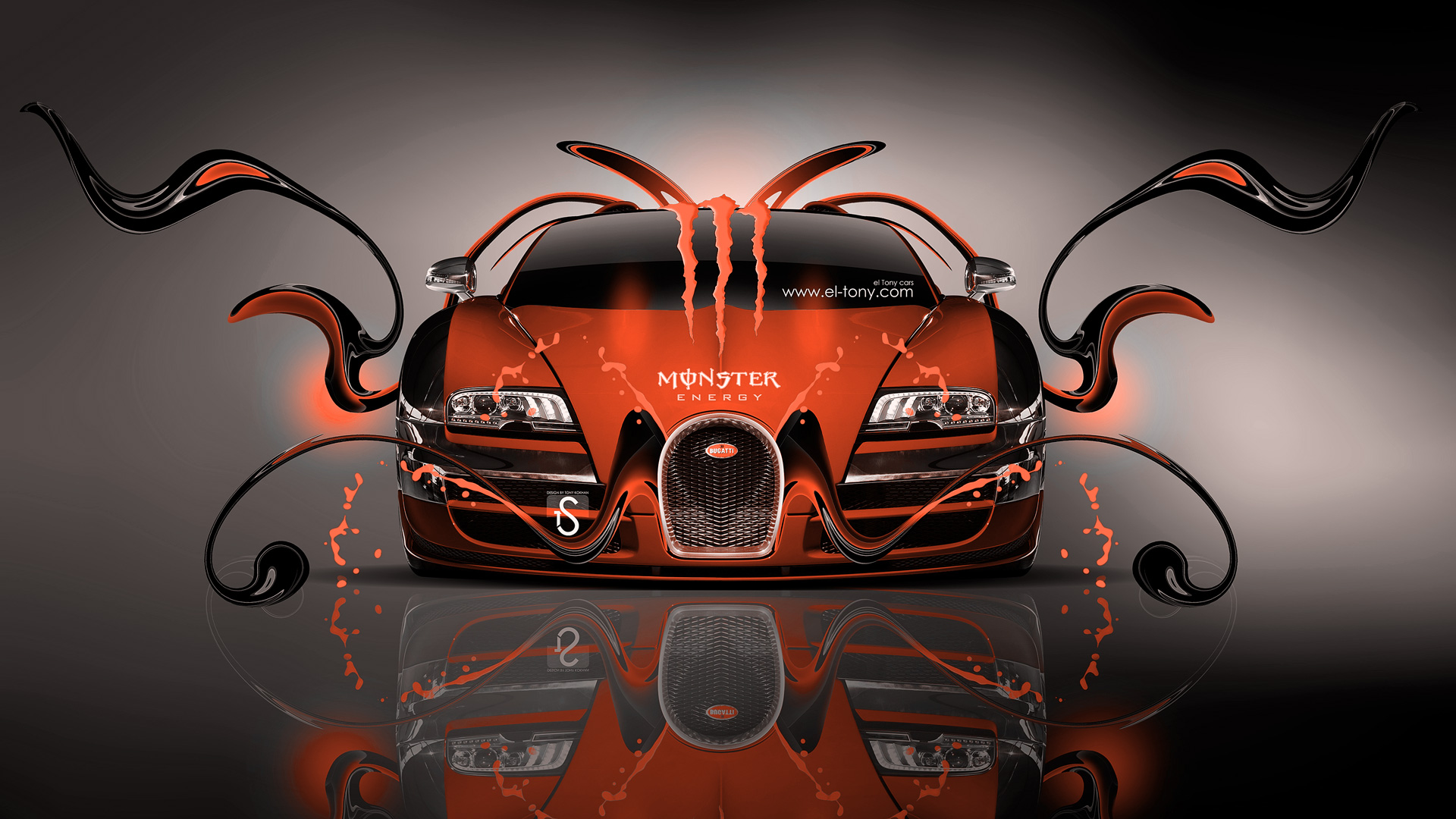Charmant ... Monster Energy Bugatti Veyron Front Orange Plastic Car  ...