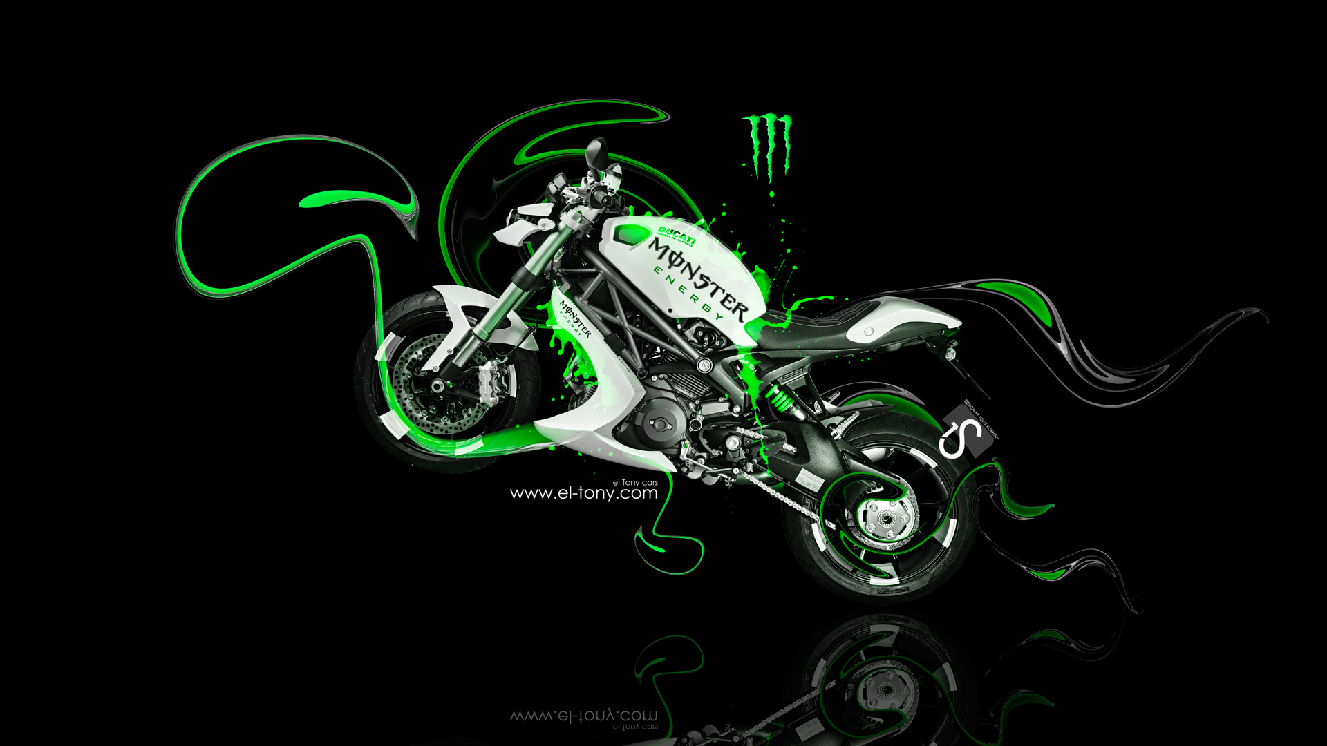 Beautiful Monster Energy Ducati Bulgari Fantasy Moto Green Plastic