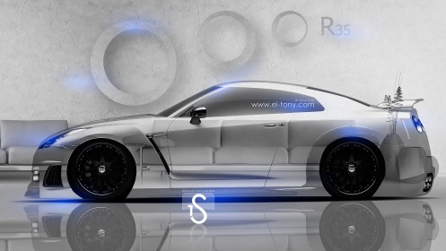 Nissan-GTR-R35-Crystal-Home-Car-2014-Blue-Neon-design-by-Tony-Kokhan-[www.el-tony.com]