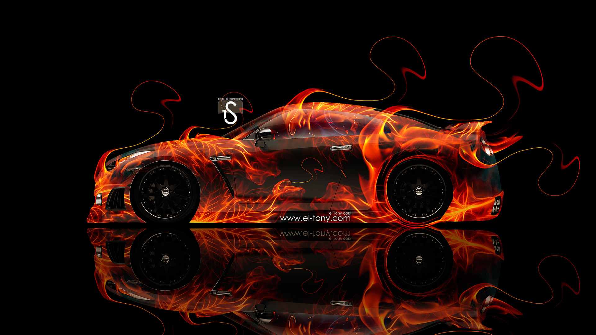 Nissan GTR R35 Side Fire Abstract Car 2014
