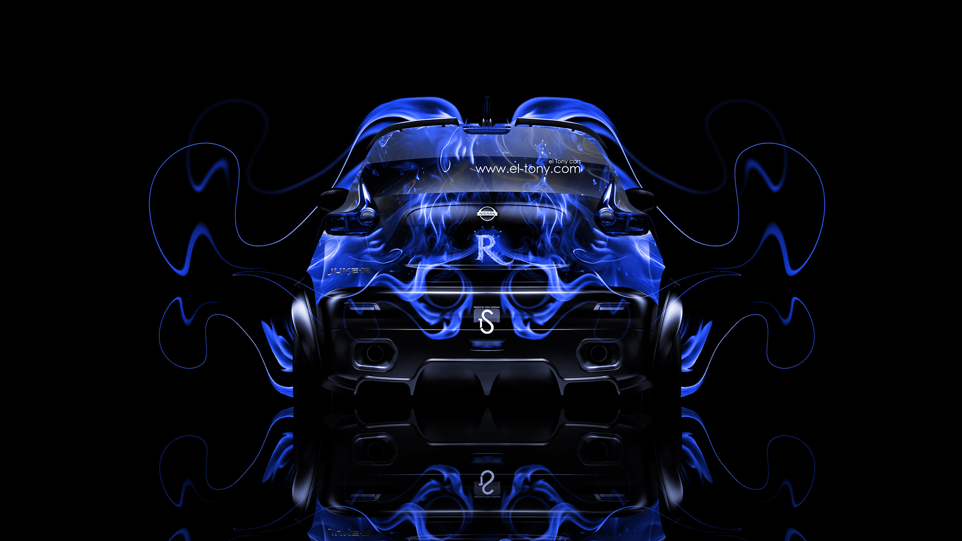 Nissan Juke R Back Blue Fire Abstract Car