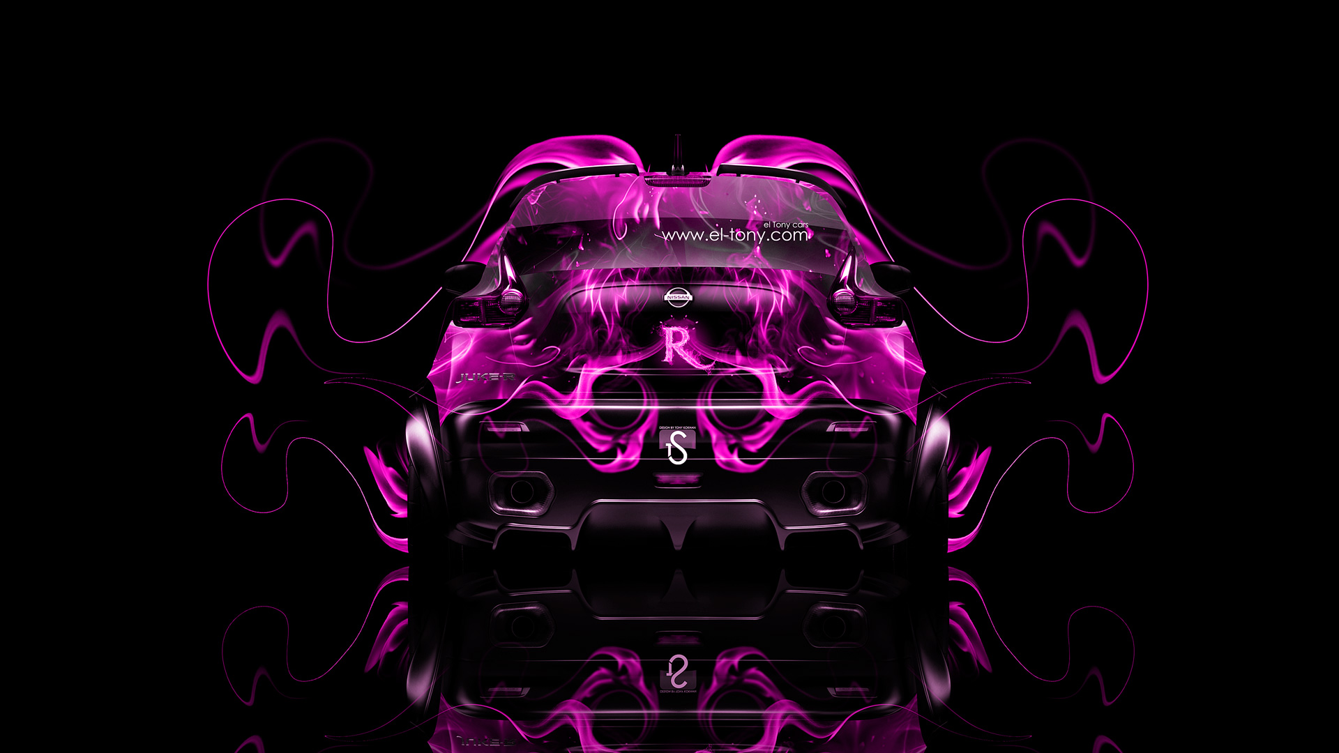 ... Nissan Juke R Back Pink Fire Abstract Car