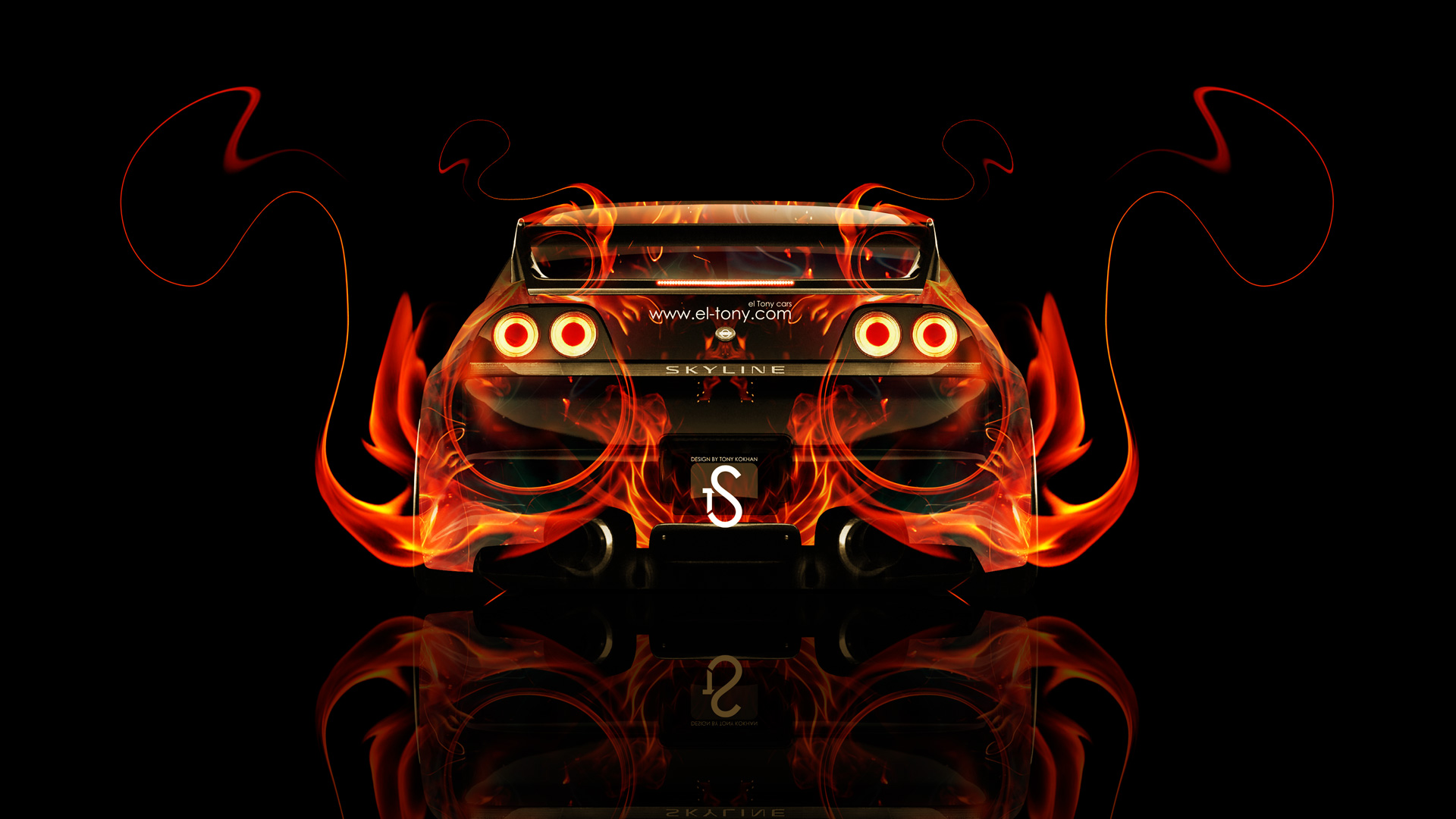 Beautiful Nissan Skyline GTR R33 Back Fire Abstract Car